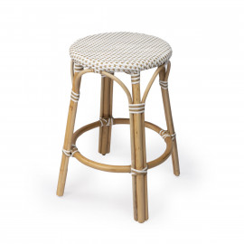Beige & White Woven Rattan Backless Counter Stool