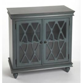 Vintage Blue Wood Accent Cabinet Fretwork Doors