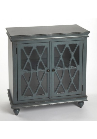 Vintage Blue Wood Accent Cabinet Fretwork Doors