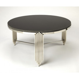 Silver Granite Sculpted Legs Black Marble Top Cocktail Table
