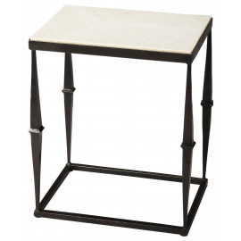 Black Metal Base & White Marble Side Accent Table