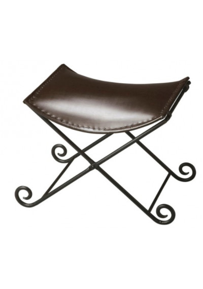 Deep Brown Leather & Iron Stool Footstool