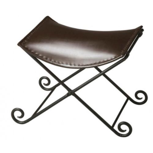 Deep Brown Leather & Iron Stool Footstool
