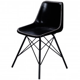 Black Stitched Leather Mid Century Black Legs Dining Chair