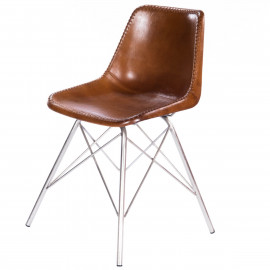 Brown Stitched Leather Mid Century Silver Legs Dining Chair