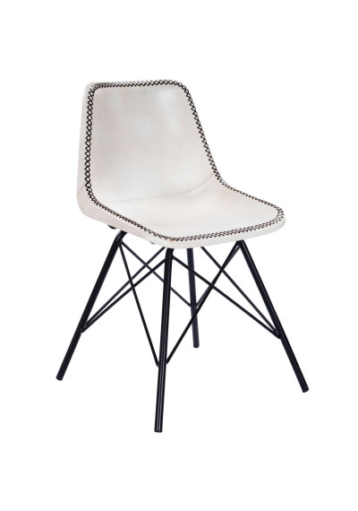 White & Black Stitched Leather Mid Century Black Legs Dining Chair