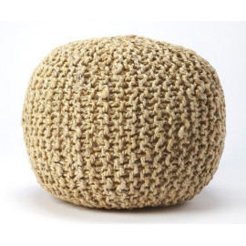 Jute Woven Rope Color Beige Round Ottoman Pouf