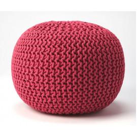 Jute Woven Hot Pink Round Ottoman Pouf
