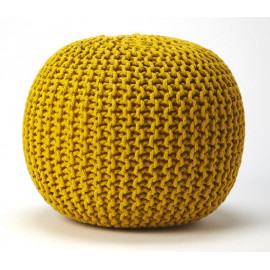 Jute Woven Yellow Round Ottoman Pouf