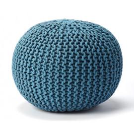Jute Woven Aqua Blue Round Ottoman Pouf