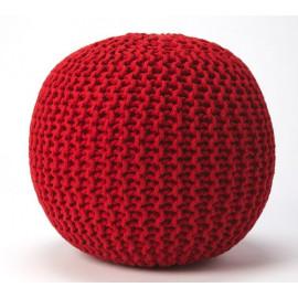Jute Woven Red Round Ottoman Pouf