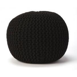 Jute Woven Black Round Ottoman Pouf