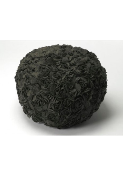 Round Grey Roses Pouf Ottoman Footstool