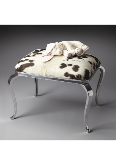 Black & White Cowhide Ottoman Seat