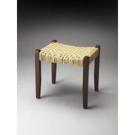 Dark Wood & Jute Rope Weave Bench