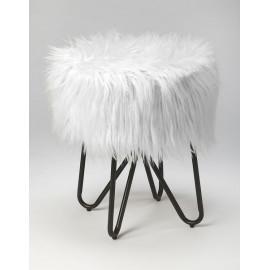 White Faux Fur Black Legs Vanity Seat Footstool