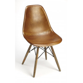 Brown Leather Mid Century Wood Legs Dining Chair