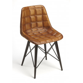 Brown Quilted Leather Mid Century Black Metal Legs Dining Chair