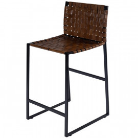 Brown Woven Leather Black Iron Base Armless Counter Stool