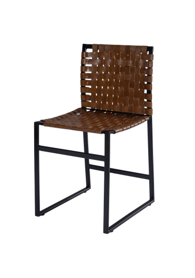 Brown Woven Leather Black Iron Base Armless Dining Chair
