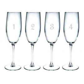 Numbered Champagne Flutes Glasses Set of 12