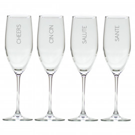Cheers Champagne Flutes Glasses Set of 4