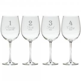 12 Days of Christmas Wine Glasses Set of 12 ( stemmed & stemless )