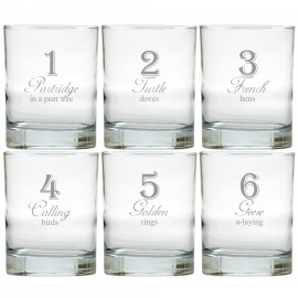 12 Days of Christmas Old Fashioned Bar Glasses Set of 12