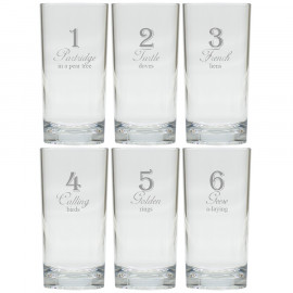 12 Days of Christmas Drinking High Ball Glasses Set of 12