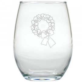Holiday Wreath Stemless Wine Glasses Set of 12