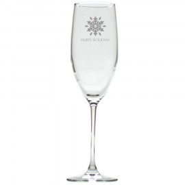 Snowflake Happy Holidays Champagne Flutes Glasses Set of 8