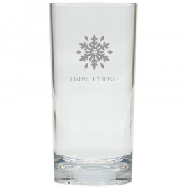 Snowflake Happy Holidays Drinking High Ball Glasses Set of 6