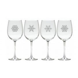 Unique Snowflake Wine Glasses Set of 4