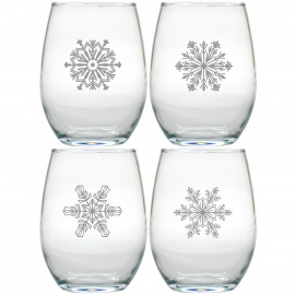 Unique Snowflake Stemless Wine Glasses Set of 4