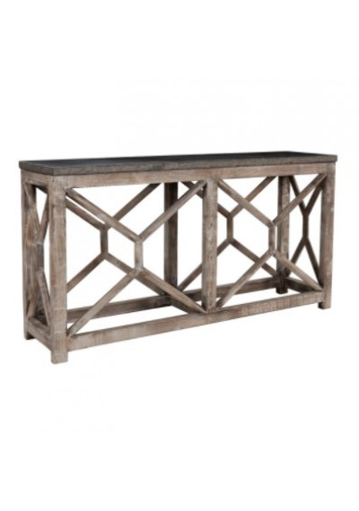 Reclaimed Pine Rustic Lattice Console Table Bluestone Top