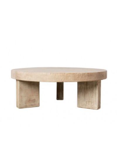 Knotty Grain Reclaimed Wood Round Block Coffee Table