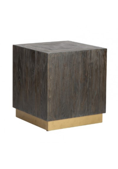 Square Dark Elm Wood Brass Inlay Top & Base End Table