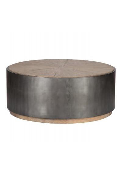 Wrought Iron Black Base & Starburst Design Wood Top Drum Coffee Table