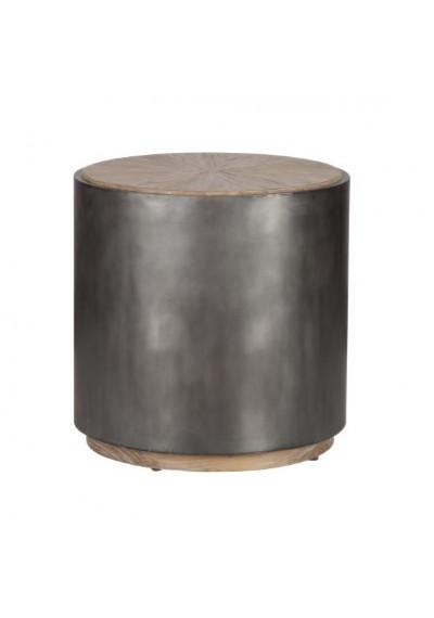 Wrought Iron Black Base & Starburst Design Wood Top Drum Side Table