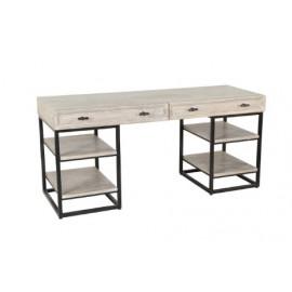 White Wash Wood Iron Base Office Desk