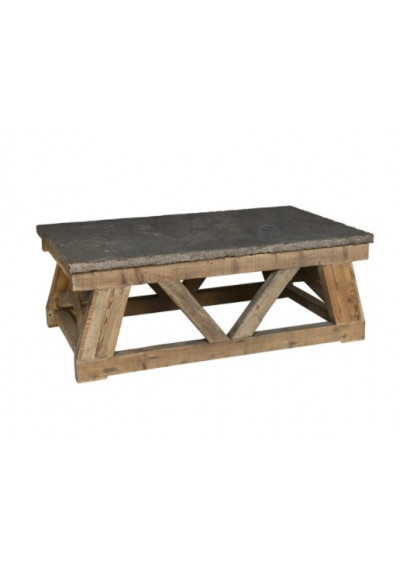 Rustic Reclaimed Wood & Stone Rectangle Coffee Table