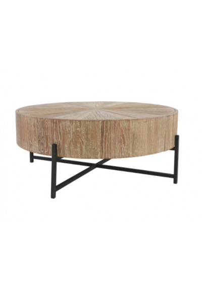 Round Distressed Wood Block Coffee Table