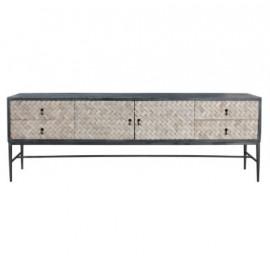 Elm & Pine Woven Design 2 Door 4 Drawer Sideboard Cabinet