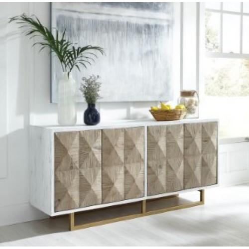 Whitewash Frame Diamond Pattern Face Sideboard Cabinet