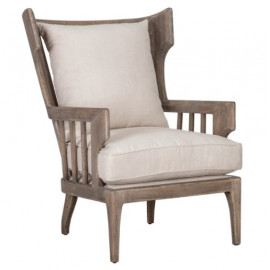 Winged Slatted Back Solid Wood & Cushion Accent Chair
