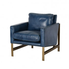 Blue Leather Brass Finish Square Base & Legs Club Chair