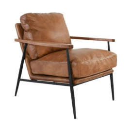 Carmel Brown Antique Leather Contemporary Style Club Chair