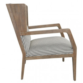 Wing Slatted Back Solid Wood & Striped Linen Blend Cushion Accent Chair