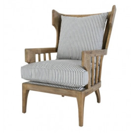 Winged Slatted Back Solid Wood & Striped Cushion Accent Chair