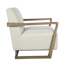 Contemporary Light Wood & Pearl White Cushion Accent Chair